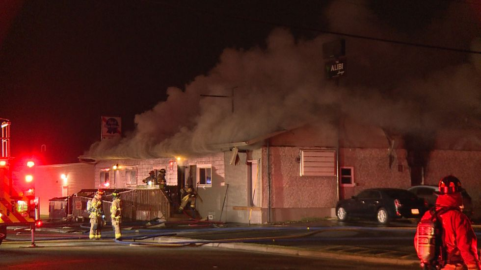 The Alibi Bar in Eau Claire caught on fire Monday morning.