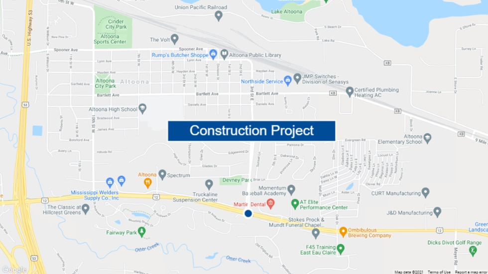 A map showing the location of a road construction project set to begin July 26, 2021.