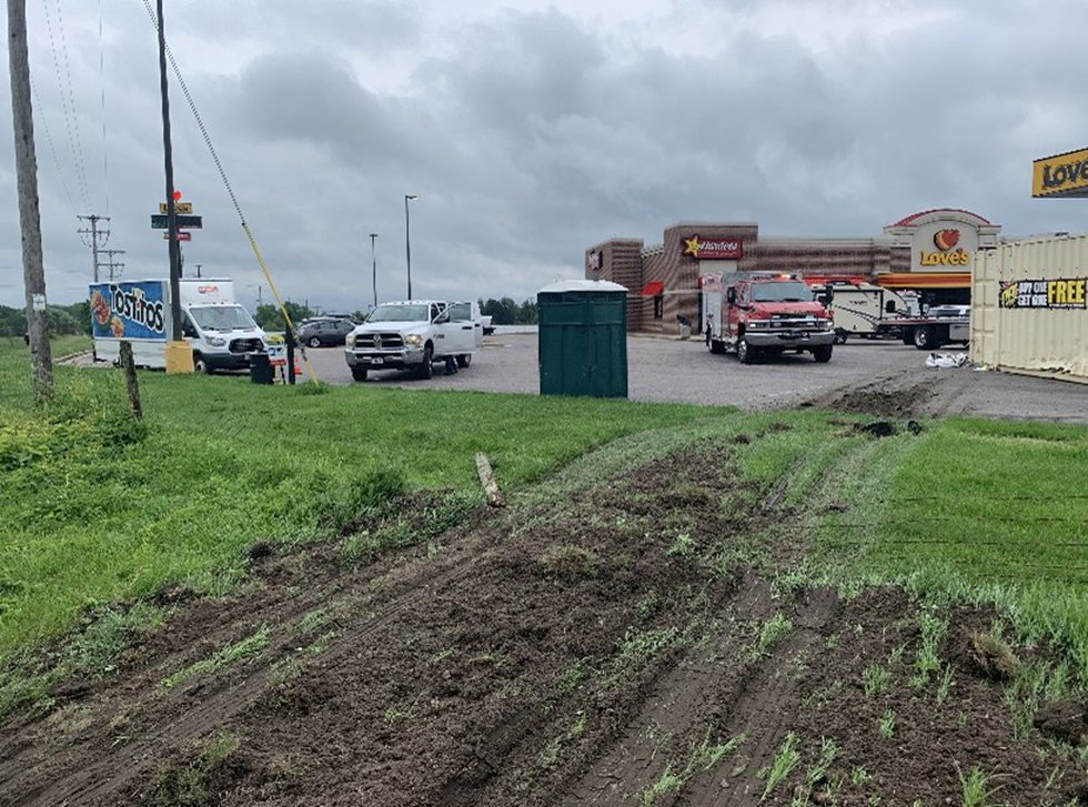 Two people were taken to the hospital after a semi crashed into a fireworks stand.