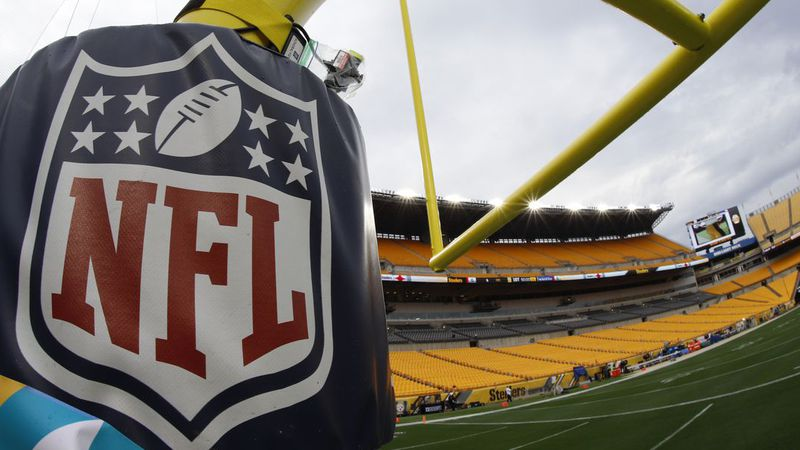 NFL logos adorn Heinz Field before the start of an NFL football game between the Pittsburgh...