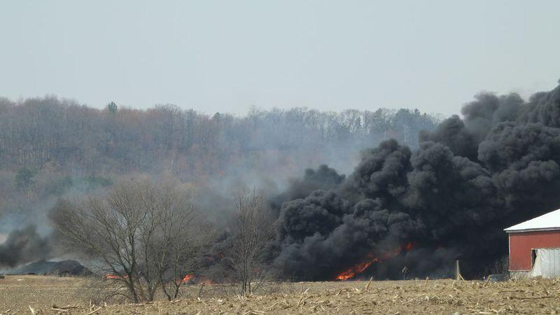 Fire at farm near Alma Center on Sunday