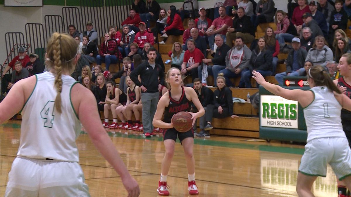 Altoona's Kennedy Trippler makes a triple in the Rails' 54-32 win over Eau Claire Regis Tuesday night.