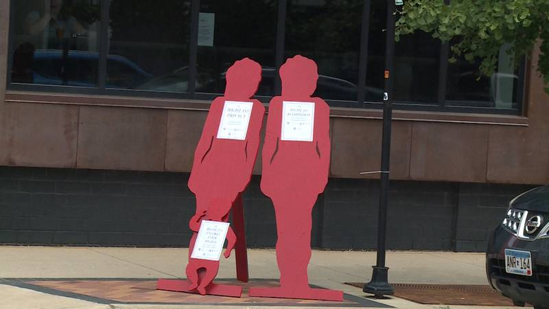 The red silhouettes raise awareness of Marsy's Law of Wisconsin