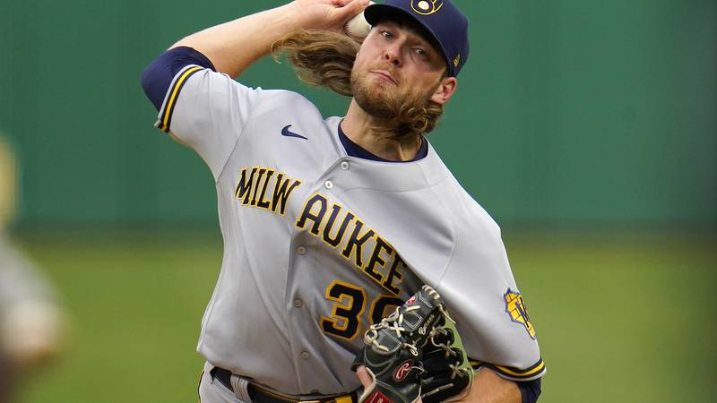 Milwaukee Brewers starting pitcher Corbin Burnes delivers during the first inning of the team's...