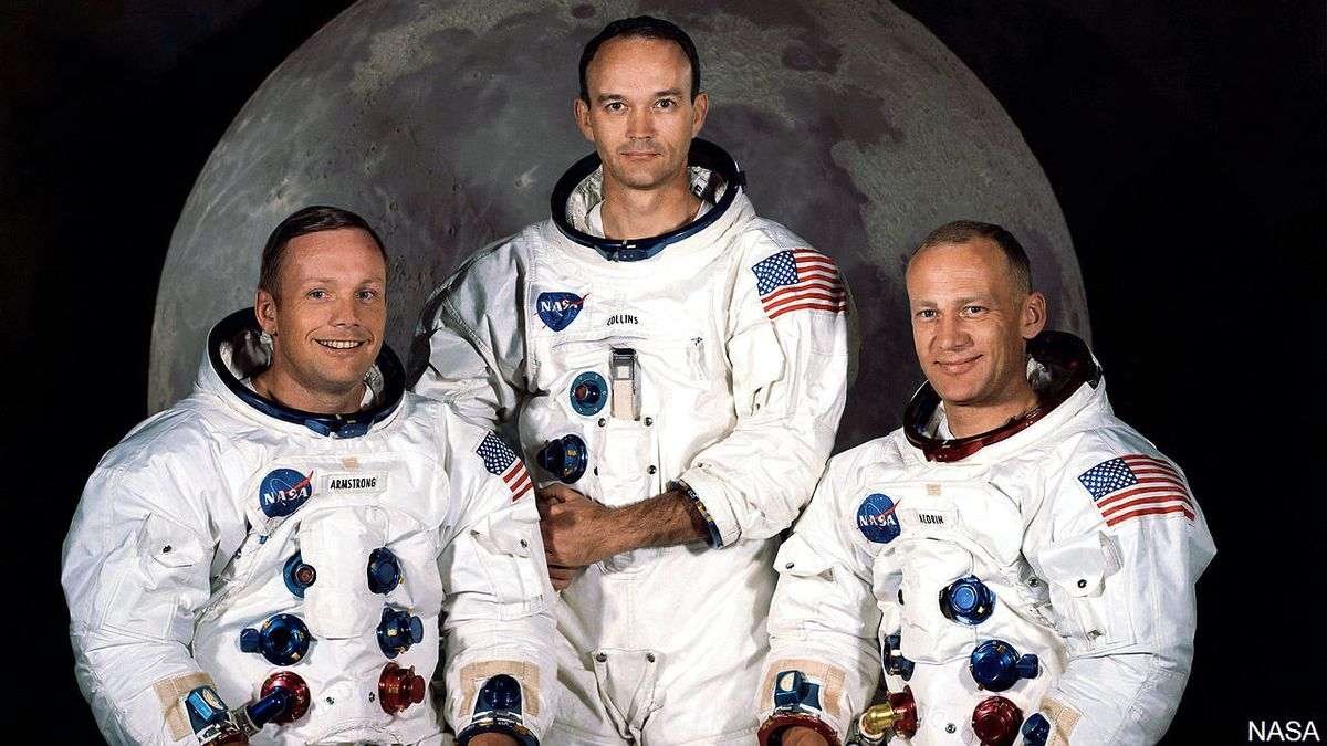 The Apollo 11 lunar landing mission crew (pictured from left to right) Neil A. Armstrong Michael Collins and Edwin E. Aldrin Jr. on May 1, 1969.