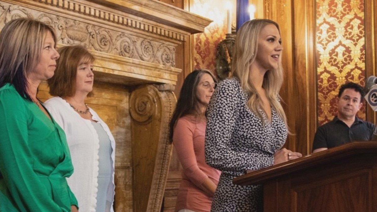 Kayleigh Kozak, a survivor of sexual assault, helps introduce 'Kayleigh's Law' at a press...