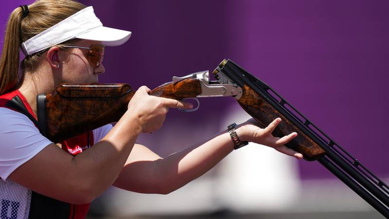 Madelynn Ann Bernau, of the United States, practices at the Asaka Shooting Range ahead of the...