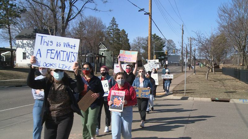Dozen's of community members joined in the 'Women's March 4 Justice' event, where participants...
