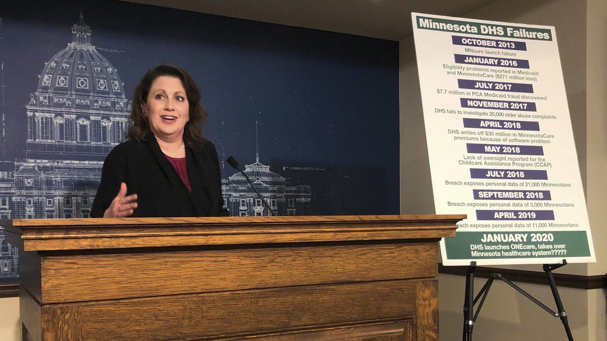 State Sen. Michelle Benson reacts at a news conference on Wednesday, April 10, 2019 at the...