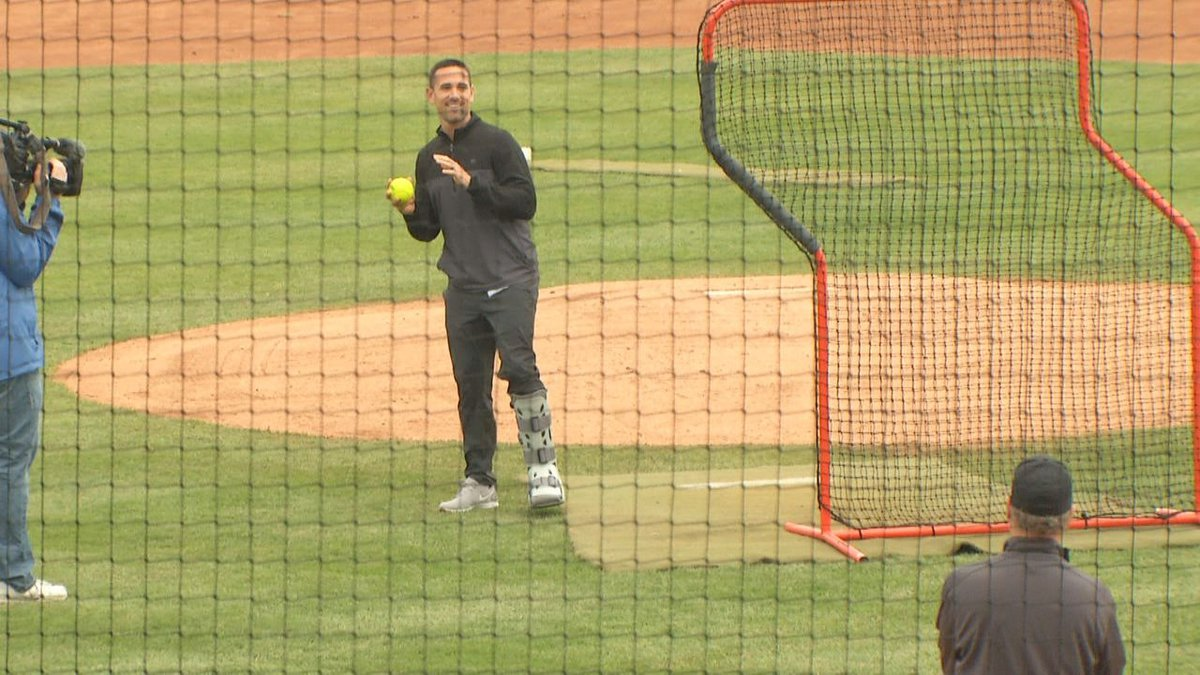 Packers Head Coach Matt LaFleur threw out the first pitch at the 2019 Green and Gold Charity...