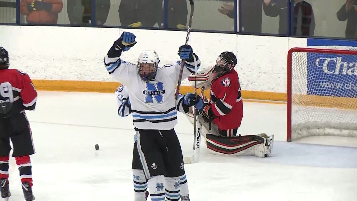 Eau Claire North's Johan Akervik celebrates after scoring the lone goal in the Huskies' 1-0 win over Chippewa Falls.