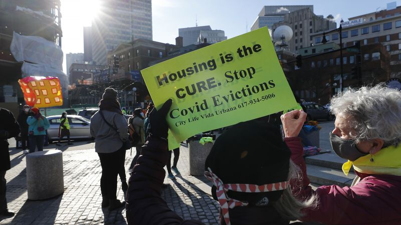 FILE - In this Jan. 13, 2021 file photo, tenants' rights advocates demonstrate outside the...