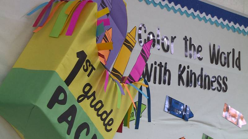 In first grade teacher Sarah Lobacks classroom at Meadowview Elementary, her 'back-to-school'...