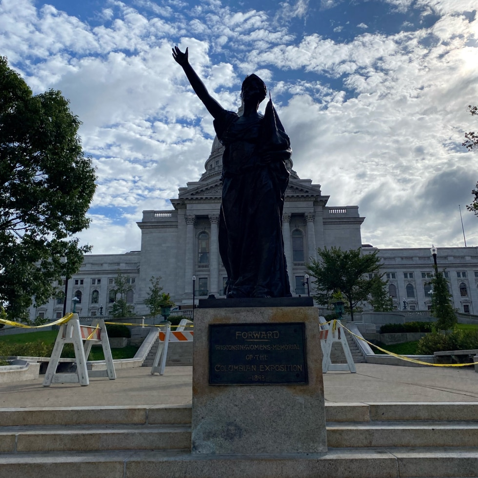 """The """"Forward"""" statue was reinstalled at the Wisconsin statehouse, in Madison, on Sept. 21, 2021."""