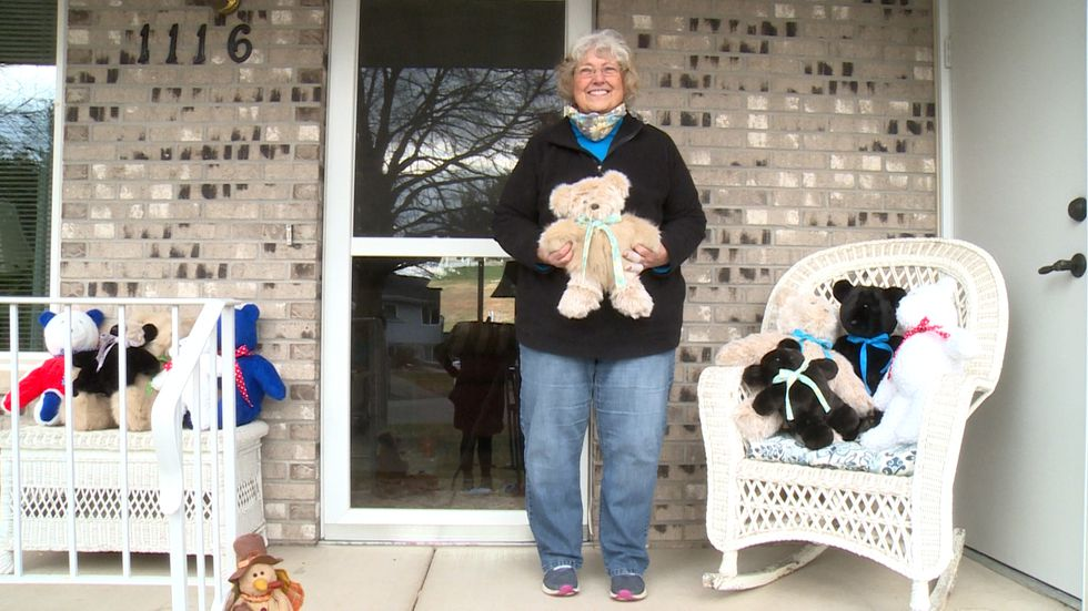 Dawn Blanton with her teddy bears that she will donate to kids for Christmas.