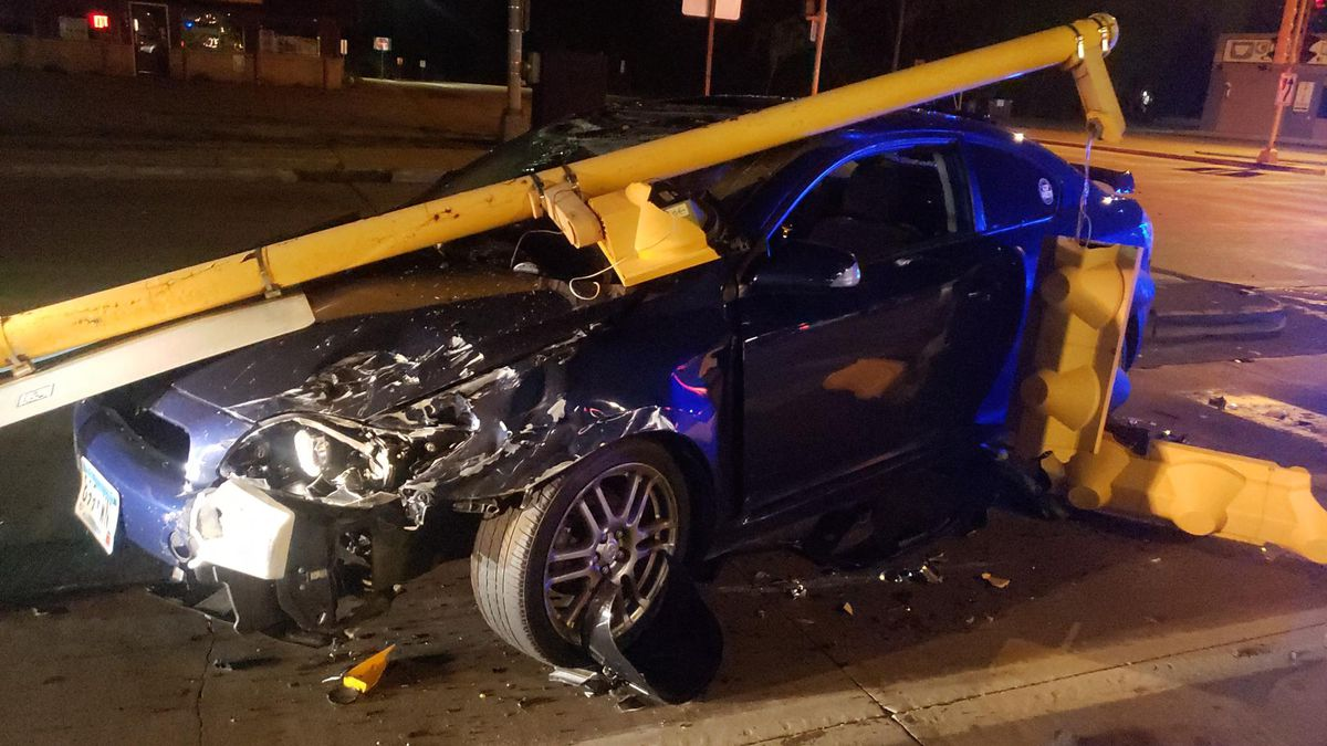 Schwalbach's vehicle after hitting a La Crosse Police squad car.