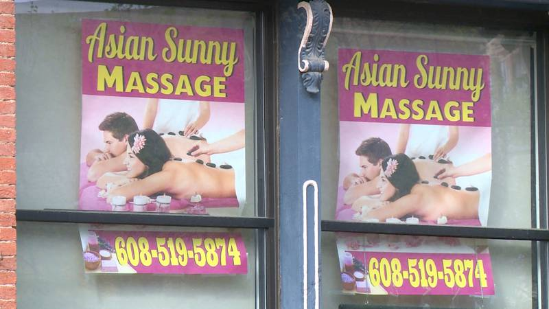 The exterior of Asian Sunny Massage in downtown La Crosse