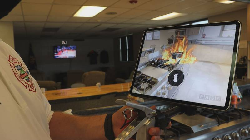Their new augmented reality fire extinguisher training allows participants to see what it would...