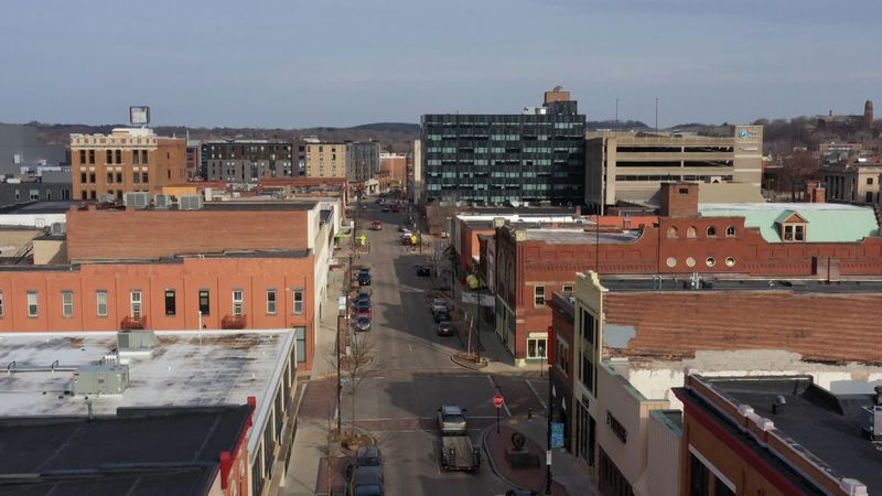 A birds eye view of downtown Eau Claire, soon to see several new apartment complex's, building...