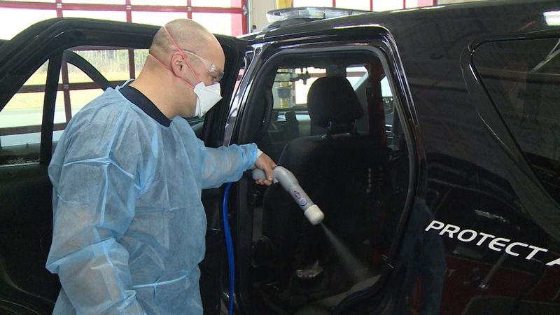 New sanitization device used at a fire department in Chippewa County.