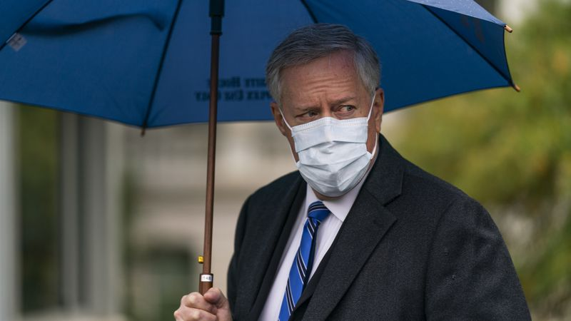 White House chief of staff Mark Meadows responds to reporters' questions outside the West Wing...