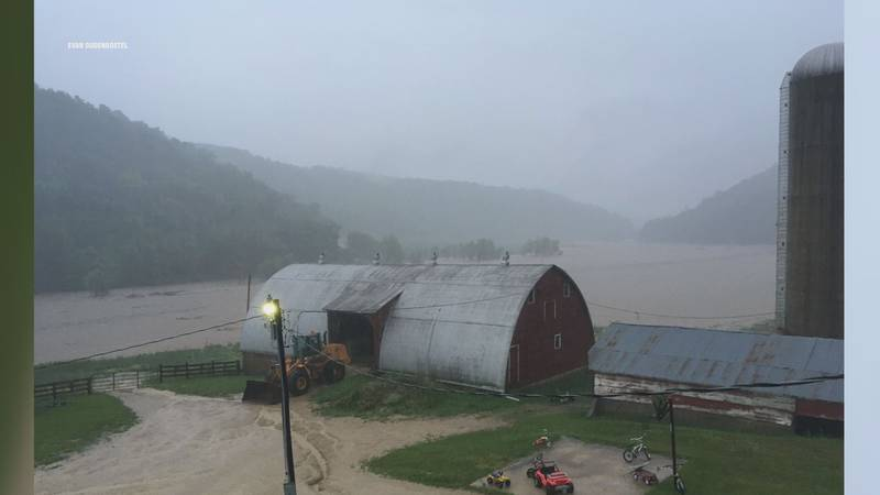 Crawford County Farm pastures during weekend rain