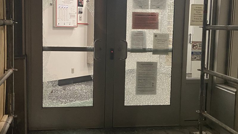 The doors on the CCB building downtown were smashed