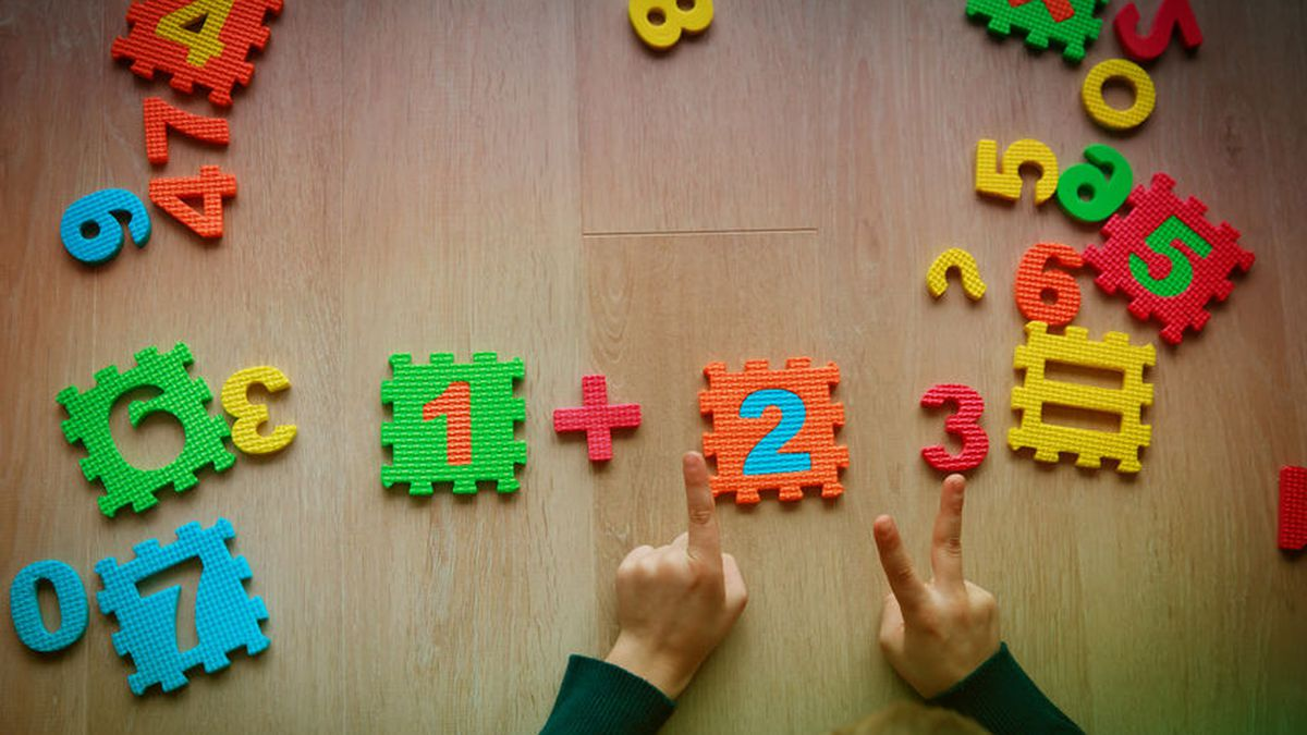 little boy learn numbers, counting with hands, learning math concept