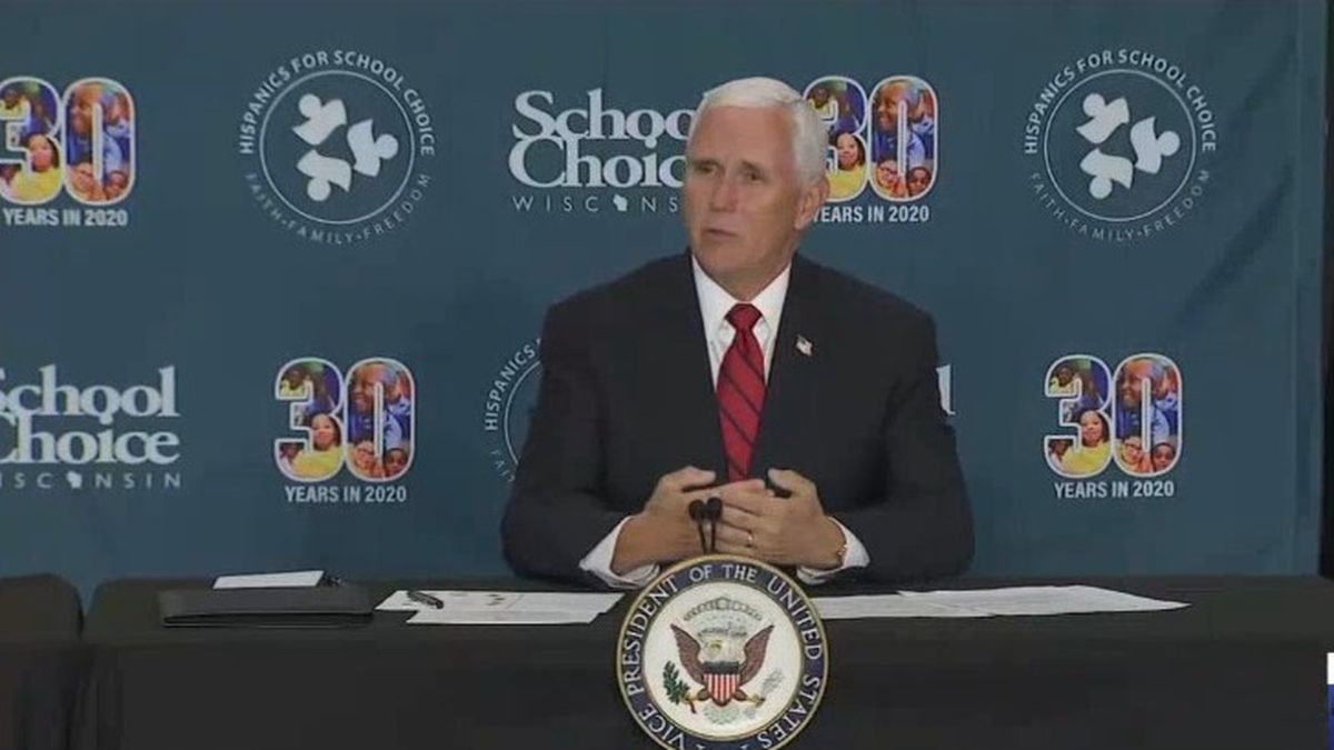 VP Mike Pence speaks at school choice discussion in Waukesha. June 23, 2020. (Pool)
