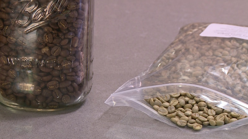 On the right are coffee beans before being roasted. The jar on the left holds roasted coffee...