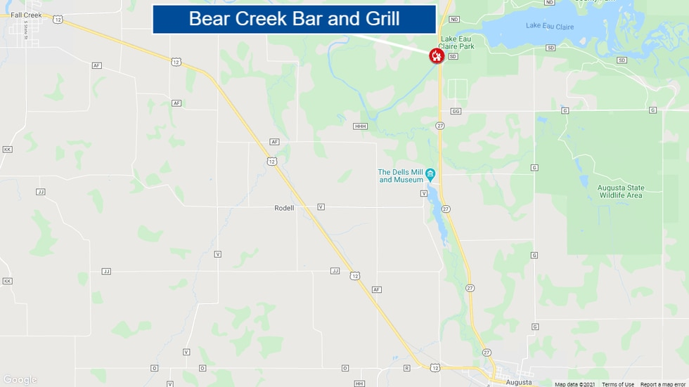 Bear Creek Bar and Grill is located north of Augusta and east of Fall Creek, near Lake Eau...