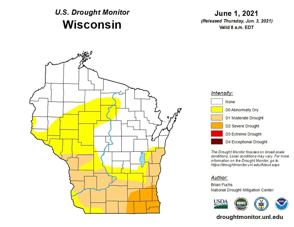 A map of drought conditions in Wisconsin on June 1, 2021.