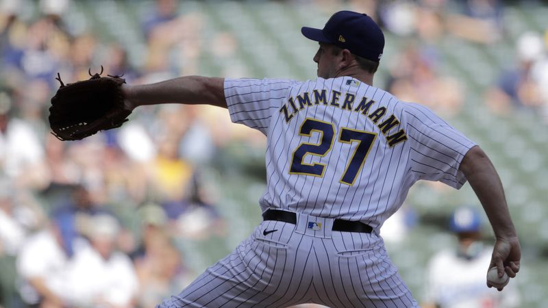 Milwaukee Brewers' Jordan Zimmermann pitches during the fifth inning of a baseball game against...