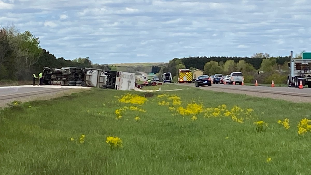 An overturned semi caused Highway 29 to shut down all lanes eastbound and one lane westbound at...