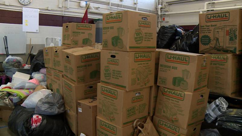 Donations for Afghan evacuees at the Sparta National Guard Armory