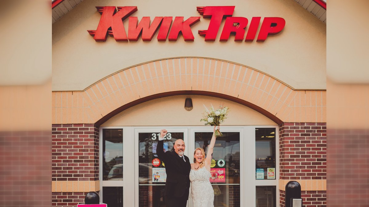 The bride and groom donned their wedding day best at the Kwik Trip on Highway 51 in Janesville.