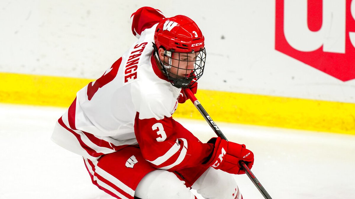 Wisconsin's Sam Stange (3) during the third period of an NCAA college hockey game against...