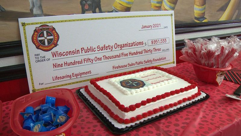 Area fire departments gathered at Firehouse Subs in Eau Claire for a check presentation that...