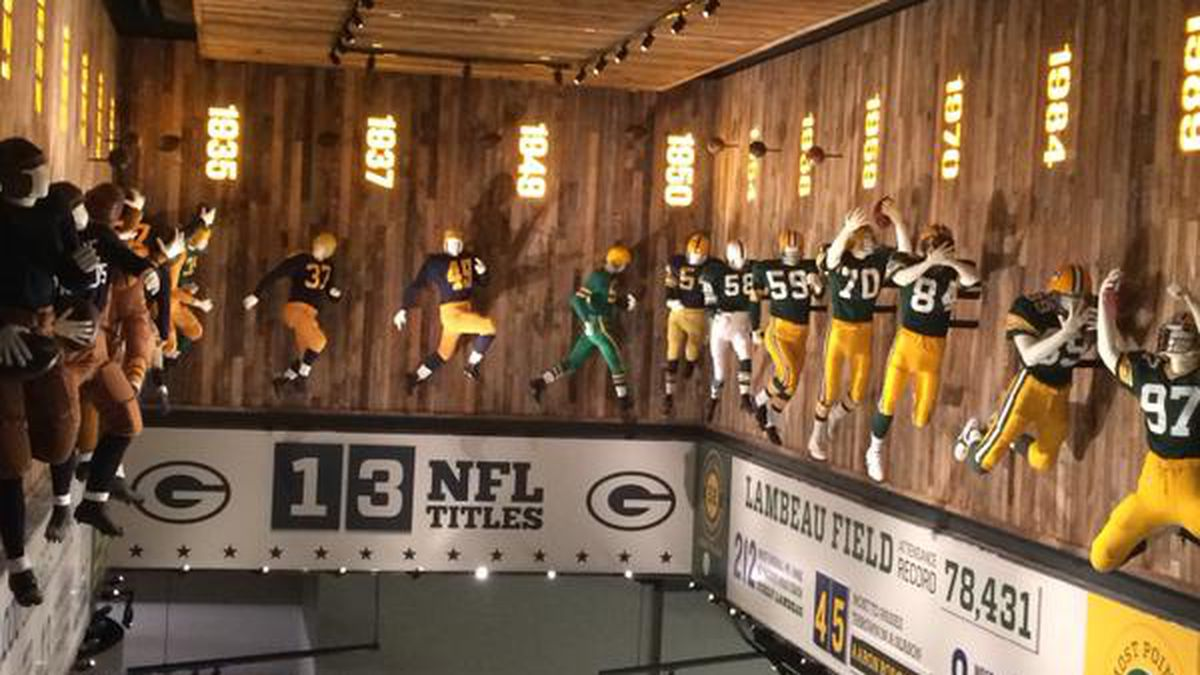 Packers uniforms through years are on display at the Green Bay Packers Hall of Fame