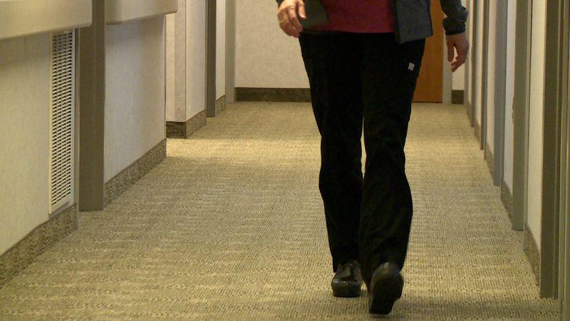 Nurse walking the halls