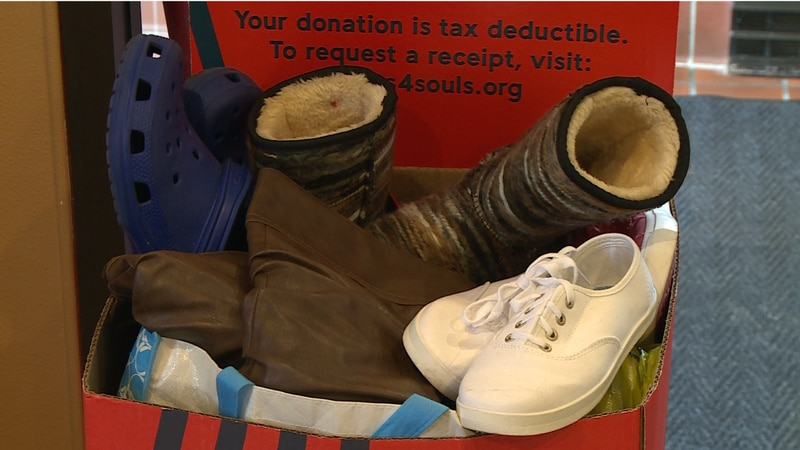 The shoes are intended to go to the nonprofit Soles4Souls to help kids experiencing homelessness.