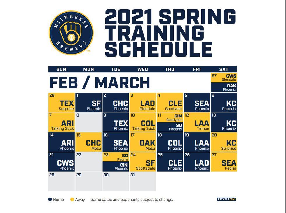 Brewers 2021 Spring Training Schedule