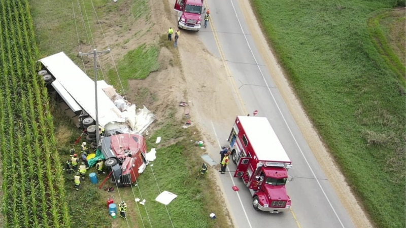 Traffic on US 10 was down to one lane or completely closed for four hours do the clean-up.