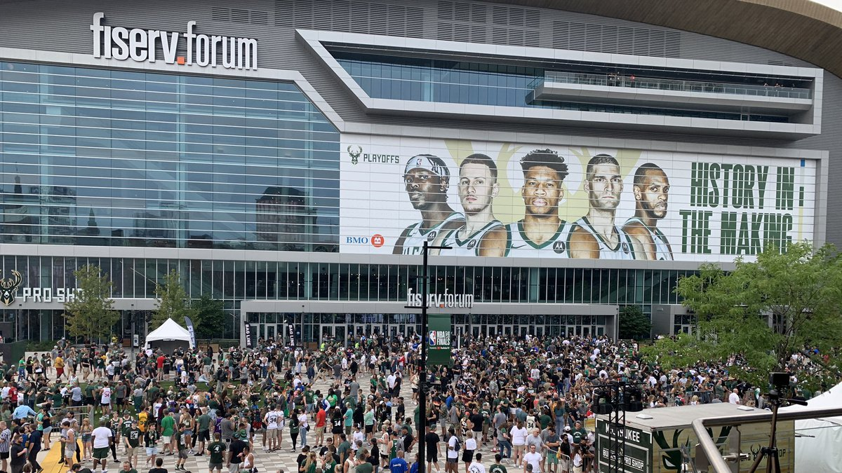 Fans begin to gather at Fiserv Forum Tuesday night ahead of NBA Finals Game 6.
