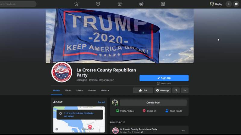 The La Crosse County Republican Party says Facebook has restricted its page and the 3rd...