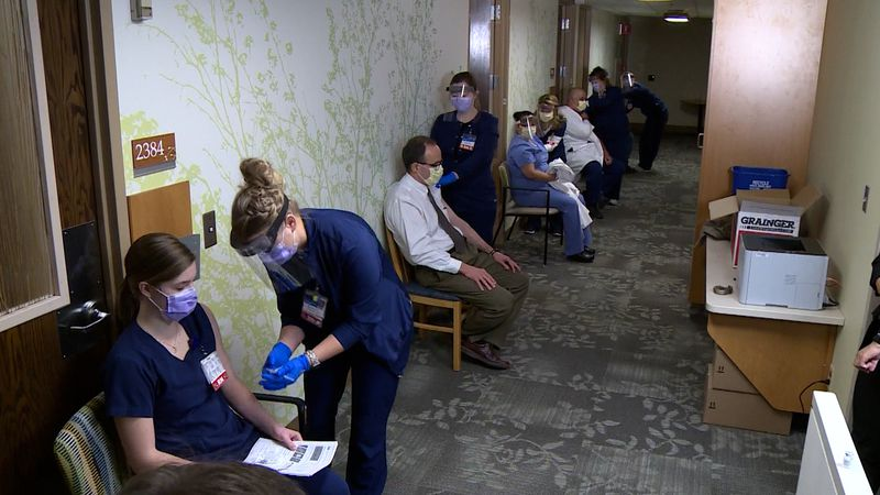 Mayo employees receive the Pfizer vaccine