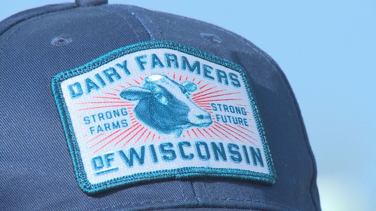 Marathon County dairy farmer James Juedes wears his Dairy Farmers of Wisconsin hat on April 2,...