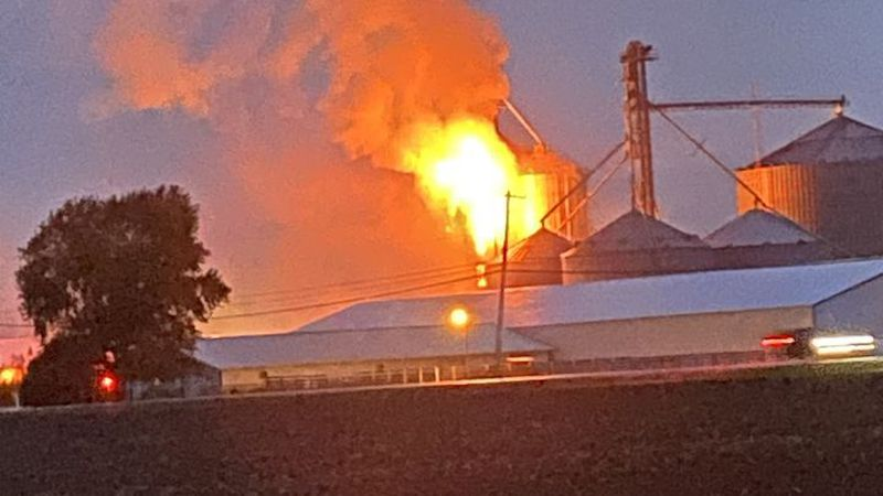 Corn dryer fire at the Metcafe Brothers Farm.