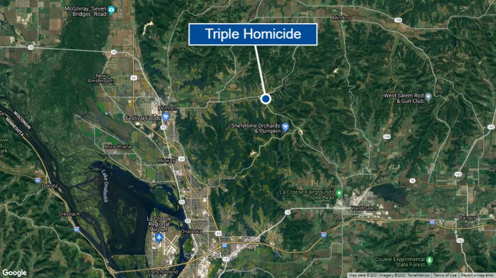 A triple homicide in rural La Crosse County is under investigation. This is a map.