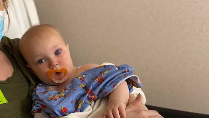 Baby receives medical treatment